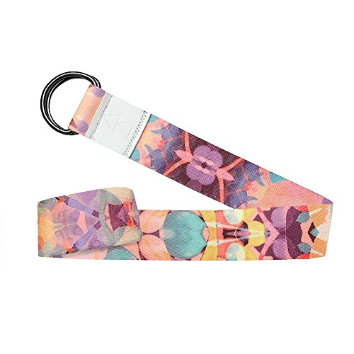 YOGA DESIGN LAB | The Yoga Strap | Luxurious, Extra Long, Super Soft, Eco Printed | Studio Quality, Adjustable | Safely Stretch Further and Hold Longer | 8 ft Long (Kaleidoscope, 8ft)