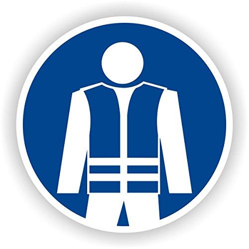Warnweste benutzen / Gebotszeichen / GE-54 / Sicherheitszeichen / Piktogramme / DIN EN ISO 7010 (50cm)