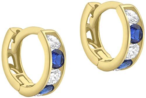 Carissima Gold Damen Weiss und Blau Kubik Zirkonia 9 mm Huggy Ohrringe 9k (375) Gelbgold 1.58.9209