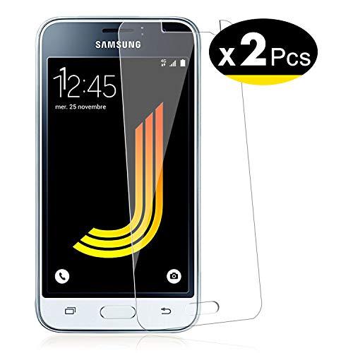 NEW'C PanzerglasFolie Schutzfolie für Samsung Galaxy J1 2016, [2 Stück] Frei von Kratzern Fingabdrücken und Öl, 9H Härte, HD Displayschutzfolie, Displayschutzfolie Samsung Galaxy J1 2016