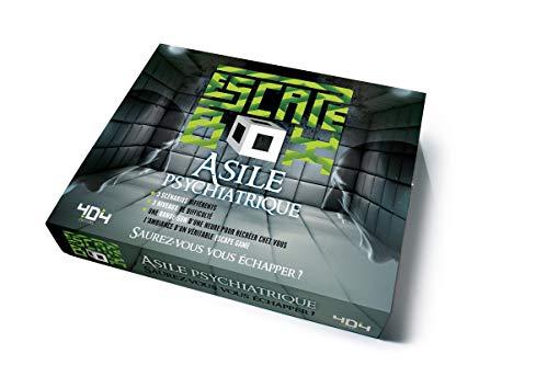 Escape Box Asile psychiatrique - Escape game adulte de 3 à 6 joueurs - Dès 14 ans et adulte: Contient : 3 livrets, 131 cartes, 1 bande-son de 60 minutes, 1 poster, 6 badges