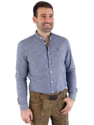 Pure Trachtenhemd C92607-21697 Slim fit Mittelblau Uni M