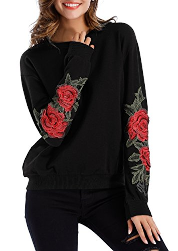 ZJCT Womens Crew Neck Long Sleeve Top Floral Embroidered Pullover Sweatshirts Black S