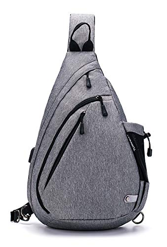 TurnWay Water-Proof Sling Backpack/Crossbody Bag/Shoulder Bag for Travel, Hiking, Cycling, Camping for Women & Men (Gray)
