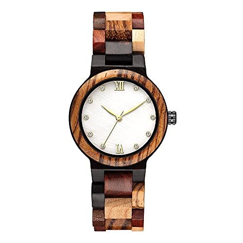 Guapo Reloj de mujer con estilo brillante, relojes de madera para mujeres colorido pequeño reloj de pulsera de madera pulsera analógica hembra completa dama de madera retro reloj Reloj de negocios