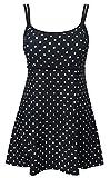 DANIFY Women's One Piece Polka Dot Swimdress Cover Up Swimsuit Plus Size Modest Swimwear Black Dot IT54/US20