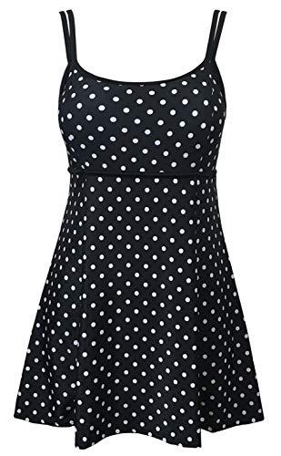 DANIFY Women's One Piece Polka Dot Swimdress Cover Up Swimsuit Plus Size Modest Swimwear Black Dot IT60/US26
