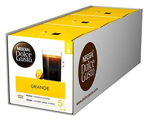 NESCAFÉ Dolce Gusto Caffe Crema Grande, XXL-Vorratsbox, 90 Kaffeekapseln, 100{dcb0b95893b8ce2ec31efaeed82b3feca533d48c0606daddec5abe408899526c} Arabica Bohnen, feinste Crema und kräftiges Aroma, Blitzschnelle Zubereitung, 3er Pack (3 x 30 Kapseln)