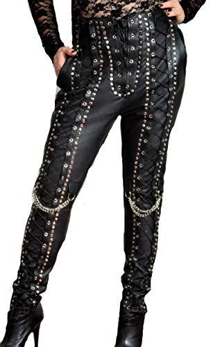 Be Noble Rebel - Lederhose aus ECHT Leder mit Schnürung (M)