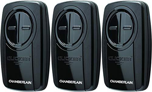 Chamberlain Group KLIK3U-BK Clicker Universal 2-Button Garage Door Opener Remote with Visor Clip, Black - 3 Pack