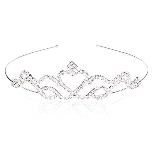 Autiga Braut Diadem Hochzeit Krone Haarreif Tiara Strass Haarschmuck Haarband Silber