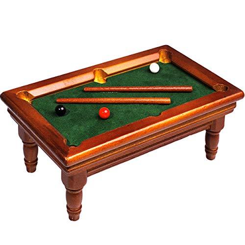 alles-meine.de GmbH Miniatur - Billardtisch mit Kugeln & 2 Queue Stäben -  Holz  - Maßstab 1:12 - Billard - Spiel Puppenhaus - Puppenstube - Poolbillard - Snooker - Carambolage..