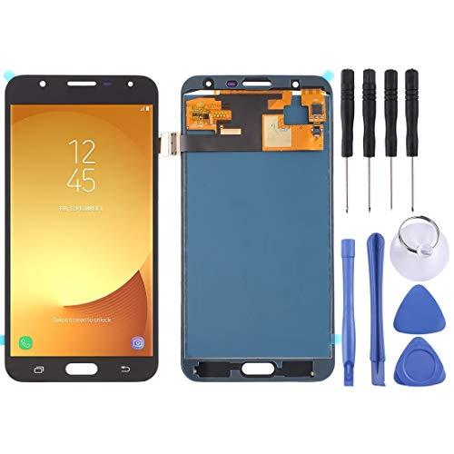 Un known Teléfono móvil reemplazable Pantalla LCD y Conjunto Completo de digitalizador (Material TFT) for el Accesorio Galaxy J7 / J701 Partes de máquina (Color : Black)