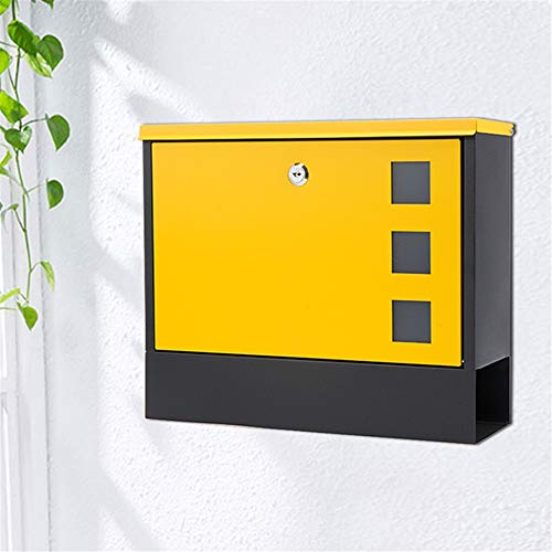 GJHT Wall-mounted Retro Mailbox Cast Aluminum Wall-mounted Mailbox for Newspaper Durable and Can Decorate the Door (Color : As Shown, Size : 36x10x30cm)