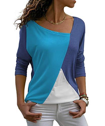 Damen Oberteile V-Ausschnitt Langarmshirt Casual Farbblock T-Shirt Tunika Top Bluse (321-Blau(Langarm), Large)