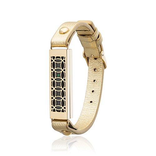 fitjewels Flex 2 Schmuck für Fitbit Armband Hyde 2 - Edelstahl und echtes Leder - Flex 2 Ersatzband Gold-Gold