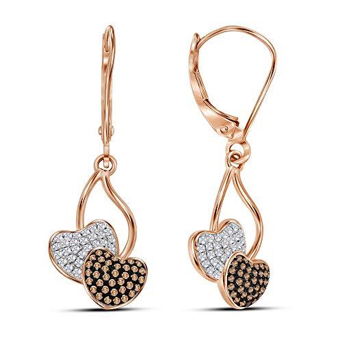 Orecchini pendenti a forma di cuore in oro rosa da 10 ct, con diamanti, da donna
