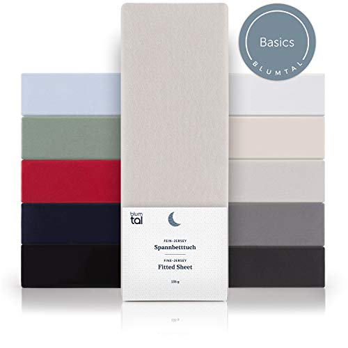 Blumtal Basics Topper Spannbettlaken 140x 200 cm - 100% Baumwolle Bettlaken, bis 8cm Topperhöhe, Moonlight-Grau