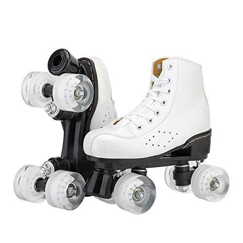 Pattini A Rulli Doppia Fila 4 Ruote in Gomma Bianca Skates Classic...