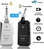 Getaria 5.8GHz Wireless Guitar System Rechargeable Audio Guitar System Wireless Digital Transmitter Receiver Set for Electric Guitar Bass (Silver Black)