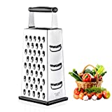 Box Grater, McoMce Cheese Graters Stainless Steel for kitchen, Graters for Kitchen with 4 Sides, Grater Easy to Use and Non-Slip Base, Suitable for Parmesan Cheese, Vegetables, Ginger(Black)