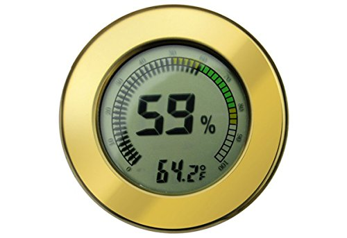 "Prestige Import Group - 2.5"" Digital Mountable Hygrometer w/Calibration for Cigar Humidors - Color: Gold"