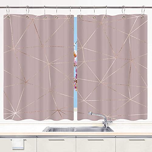 Conjunto de 2 Paneles Cortinas De Cafe De Cocina,Elegante Poligonal de Oro Rosa Transparente con Azulejos Triangulares,Persiana de Sombra Pequeña con Ganchos de Metal,55' x 39'