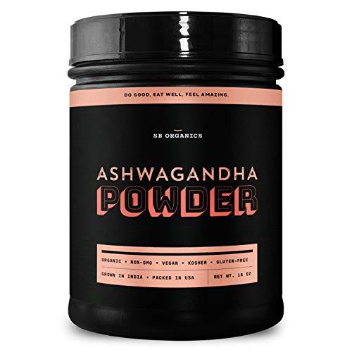 SB Organics Ashwagandha Powder - 1 lb Canister of Organic Non-GMO Kosher Gluten-Free Vegan Pure Ashwagandha Root from India