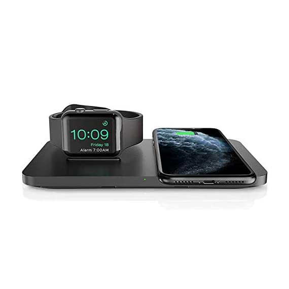 """Wireless Charger, Seneo 2 in 1 Dual Wireless Charging Pad 1 It Is Bound to Be Different - The base of the Watch charging dock had been sloped, which is convenient to connect with Watch tightly. The wireless charging pad decorated with threaded silicone for stable charging and it is also the """"sweet spot"""" for charging accurately. How to Improve Concentration - Use Seneo wireless charging pad improving concentration in work or study and without interruption. Just put your phone on the wireless charger, juice yourself, and your phone up simultaneously. The Close Partner on the Bedside - The mute charging and the green gentle indicator shows that the charging is in progress with stability and without interruption."""