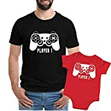 Texas Tees Funny Father Son Tee, Funny Gaming Onsie, Player 1 Player 2,Player 1, Player 2 - Black & Red,Mens (X-Large) & 3-6 Month
