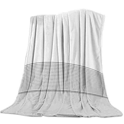 AEMAPE Manta Suave para sofá Cama, Rayas Blancas y Grises, Manta Ligera y cálida para Viaje, para Acampar, 50 'x 60'
