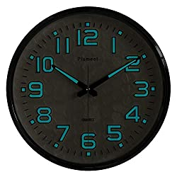 Plumeet Night Light Wall Clocks - 13 Inches Clock with Silent Non-Ticking Glowing Function - Good for Home Kitchen Bedroom - Large Number Battery Operated (Black Shell, Blue Light)