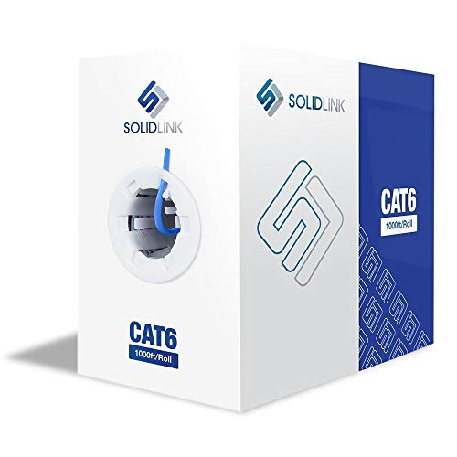 SolidLink Bare Copper 1000ft CAT6 in-Wall (cm Rated) UL Listed 4/UTP Solid Conductor Cable 23AWG LAN Network Ethernet 550Mhz Wire (Blue)
