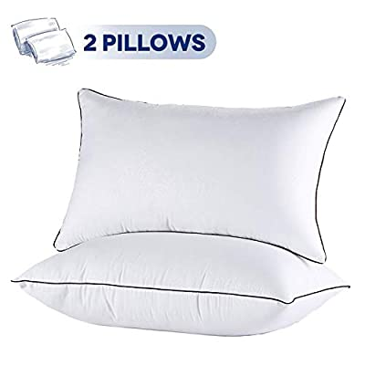 JOLLYVOGUE Pillows for Sleeping 2 Pack- Bed Pillow with Zippered Cover-Down Alternative Sleeping Pillows with Plush Fiber Fill for Back, Stomach,Side Sleepers