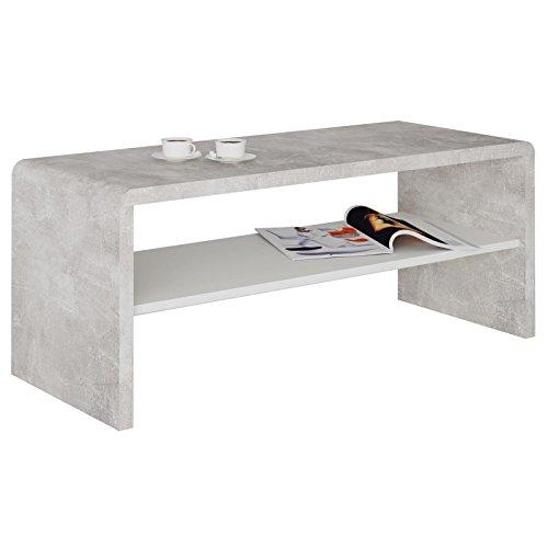 CARO-Möbel TV Lowboard Couchtisch Fernsehtisch Lenni, in Betonoptik, mit Ablagefach in weiß, 100 x 40 x 40 cm