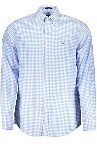 GANT Herren The Broadcloth Gingham REG BD Hemd mit Button-Down-Kragen, Capri Blue, 4XL
