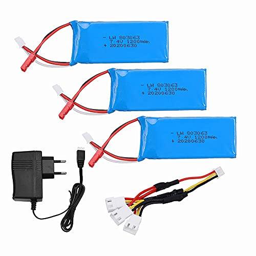 Batería Lipo de 7,4 v 1200 mAh para Yizhan Tarantula X6 H16 MJX X101 X102h RC Drone 2S batería y Cargador para WLtoys V666 V262 V323 3pcs3in1EU
