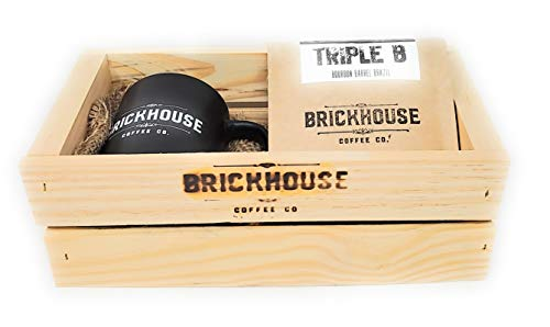 Bourbon Barrel Whole Bean Coffee– Triple B with a Beautiful Wooden Gift Crate, by Brickhouse Coffee Co. – 12 Ounce Bag and a Coffee Cup Included