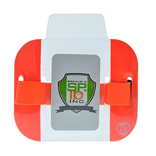 2 Pack - High Visibility Bright Neon Armband ID Card Badge Holders - Secure Top Loading with Adjustable Elastic Band - HI VIS Arm Bands for Work or Ski Passes by Specialist ID (Orange)