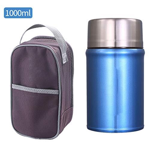 BWCX 1.0L Lunchbox Food Jar,Edelstahl Thermobehälter mit Aufbewahrungstasche und Geschirr, Isolier-Speisegefäß,Dicht,Blau