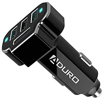 Aduro 4 Port Car Charger USB Adapter 12V Fast Car Charger USB Adapter Power Station 5.2A/26W Output  Black