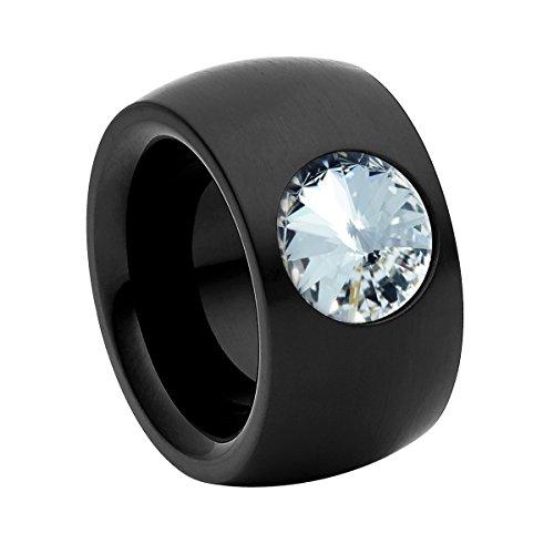 Heideman Ring Damen Coma 14 aus Edelstahl schwarz matt Damenring für Frauen mit Swarovski Stein Kristall Weiss im Fantasie Edelsteinschliff 10mm