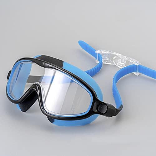 WUBBHIN Occhialini Professional Adulto Anti-Fog UV Protezione UV Lens Bambino Occhiali da Bagno in Silicone Swim Glasses in Piscina Impermeabile Regolabile (Color : Blue)
