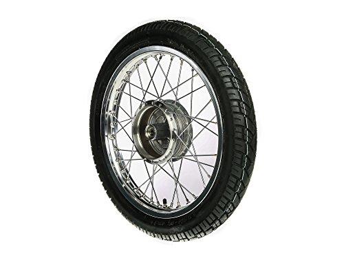SIMSON-Komplettrad - VORNE - 1,6x16 Zoll, Alufelge poliert, mit VeeRubber-Reifen VRM094 montiert