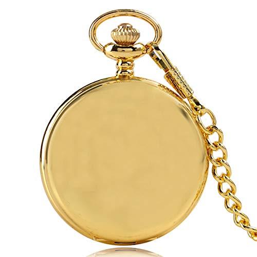 ZHAOXIANGXIANG Reloj De Bolsillo Retro,Reloj De Bolsillo Causal De Regalo Moderno para Hombres Y Mujeres, Colgante De Moda Suave, Reloj De Bolsillo con Movimiento De Cuarzo, Cadena De Oro Fresco