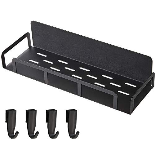 Magnetic Fridge Spice Rack + 4 Removable Hooks,Heavy Duty Magnetic Shelf for Refrigerator Fridge Spice storage,Black