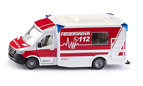 Siku 2115, Mercedes-Benz Sprinter Miesen Typ C Rettungswagen, 1:50, Metall/Kunststoff, Rot/Weiß, Abnehmbares Dach, Inkl. Trage und Spineboard