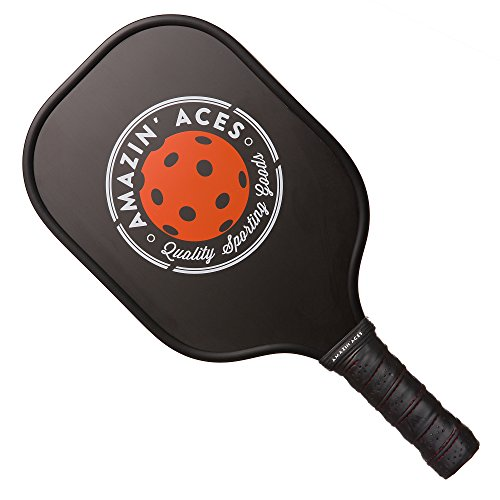 Amazin' Aces Graphite Pickleball Paddle | Racket Features Graphite Face & Honeycomb Polymer Core | Meets USAPA Specifications (Black)