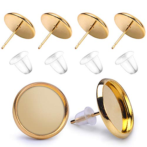 BronaGrand 50 Pieces Stainless Steel Stud Gold Earring Cabochon Setting Post Cup for 12mm and 50 Pieces Clear Rubber Earring Safety Backs