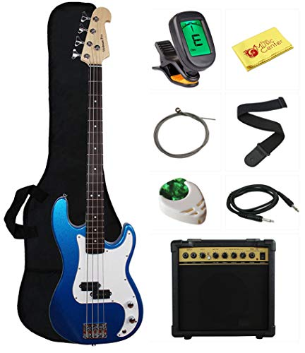 Stedman Beginner Series Bass Guitar Bundle with 15-Watt Amp, Gig Bag, Instrument Cable, Strap, Strings, Picks, and Polishing Cloth - Metallic Blue